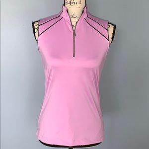 TAIL WHITE LABEL pink & black sleeveless shirt XS